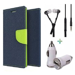 Wallet Flip cover for Micromax A106 Unite 2  (BLUE) With Zipper Earphone(3.5mm) & Car Adapter(Assorted Color)