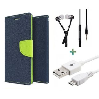 Wallet Flip cover for Micromax Bolt Q324  (BLUE) With Zipper Earphone(3.5mm) & Micro Usb Data Cable(Assorted Color)