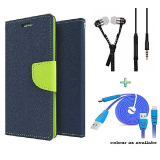 Wallet Flip cover for Reliance Lyf Water 7  (BLUE) With Zipper Earphone(3.5mm) & Mico Smiley Usb Cable(Assorted Color)