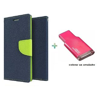 Mercury Wallet Flip case cover for Micromax Canvas Play Q355  (BLUE) With Memory Card Reader (Assorted Color)