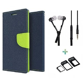 Wallet Flip cover for Micromax Canvas 4 A210  (BLUE) With Zipper Earphone(3.5mm) & Nossy Nano Sim Adapter (Assorted Color)