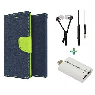 Wallet Flip cover for Moto E 2  (BLUE) With Zipper Earphone(3.5mm) & Micro otg Smart(Assorted Color)