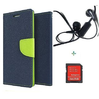 Wallet Flip cover for Micromax A106 Unite 2  (BLUE) With Raag Earphone(3.5mm) & Micro SD Card Adapter (Assorted Color)