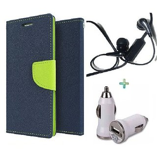 Wallet Flip cover for Reliance Lyf Flame 4  (BLUE) With Raag Earphone(3.5mm) & Car Adapter (Assorted Color)