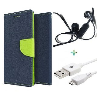 Wallet Flip cover for Micromax Canvas Selfie Lens Q345  (BLUE) With Raag Earphone(3.5mm) & Micro Usb Data Cable (Assorted Color)