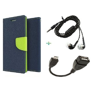 Wallet Flip cover for Micromax Canvas Juice 2 AQ5001  (BLUE) With Tarang Earphone & micro Otg cable (Assorted Color)