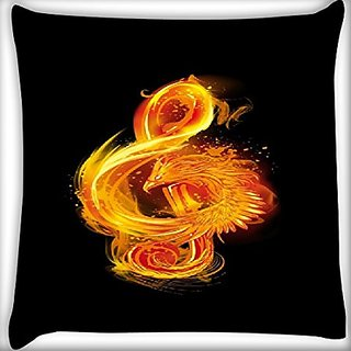 Snoogg Music Fire Bird 24 X 24 Inch Throw Pillow Case Sham Pattern Zipper Pillowslip Pillowcase For Drawing Room Sofa Couch Chair Back Seat