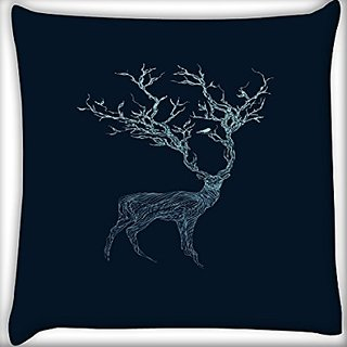 Snoogg Neon Deer 16 X 16 Inch Throw Pillow Case Sham Pattern Zipper Pillowslip Pillowcase For Drawing Room Sofa Couch Chair Back Seat