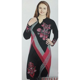 Women's Woollen Straight Kurta (Multi-Coloured, X-Large)