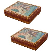 Gomati Ethnic Home Dcor Meera Gemstone Painting Wooden Jewelry Box With Meera Gemstone Painting Wooden Jewelry Box-COMB267