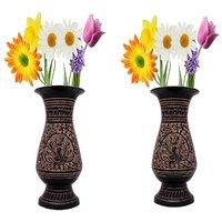 Gomati Ethnic Home Dcor Antique Golden Minakari Work Flower Vase  With Antique Golden Minakari Work Flower Vase -COMB283