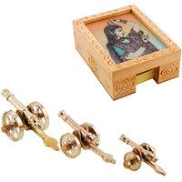 Gomati Ethnic Home Dcor Royal Rajasthan Rajputana Canon Set Of 3 Showpiece With Gemstone Painting Slip Pad Holder Box Handicraft Gift-COMB326