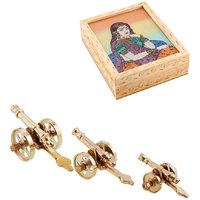Gomati Ethnic Home Dcor Royal Rajasthan Rajputana Canon Set Of 3 Showpiece With Gemstone Painting Jewelry Box Handicraft Gift-COMB327