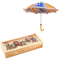 Gomati Ethnic Home Dcor Multicolor Exclusive Ethnic Designer Umbrella With Carved Gemstone Painted Wooden Jewellery Box Handicraft Gift-COMB340