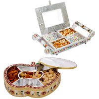 Gomati Ethnic Home Dcor Golden Meenakari Work Apple Design Dryfruit Box  With Transparent Four Partition Dryfruit Serving Tray-COMB206
