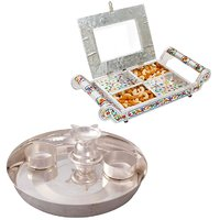 Gomati Ethnic Home Dcor Transparent Four Partition Dryfruit Serving Tray With Silver Plated 6 Inch Pooja Plate 4pcs-COMB207