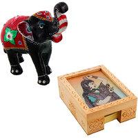 Gomati Ethnic Home Dcor Paper Mache Elephant Showpiece Handicraft Gifts With Gemstone Painting Slip Pad Holder Box Handicraft Gift-COMB379