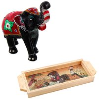 Gomati Ethnic Home Dcor Paper Mache Elephant Showpiece Handicraft Gifts With Gemstone Painted Wooden Serving Tray Handicraft Gift-COMB382