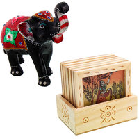 Gomati Ethnic Home Dcor Paper Mache Elephant Showpiece Handicraft Gifts With Designer Gemstone Painting Square Tea Coaster Set-COMB387
