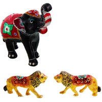 Gomati Ethnic Home Dcor Paper Mache Elephant Showpiece Handicraft Gifts With Enamel Work Pure Brass Lion Pair Gift Handicraft-COMB388