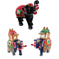 Gomati Ethnic Home Dcor Paper Mache Elephant Showpiece Handicraft Gifts With Enamel Work Pure Brass Maharaja's Elephant Pair Gift Handicrafts-COMB391