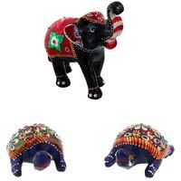 Gomati Ethnic Home Dcor Paper Mache Elephant Showpiece Handicraft Gifts With Enamel Work Pure Brass Tourtois Pair Gift Handicraft-COMB392