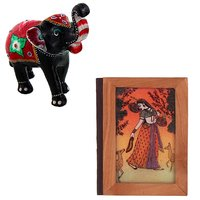 Gomati Ethnic Home Dcor Paper Mache Elephant Showpiece Handicraft Gifts With Gemstone Painting On Wood Cover Index Diary Handicraft-COMB393