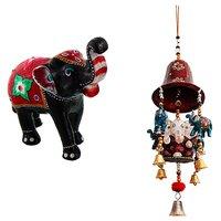 Gomati Ethnic Home Dcor Paper Mache Elephant Showpiece Handicraft Gifts With Ganesha, Elephants & Bells Door Hanging Handicraft-COMB394