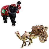 Gomati Ethnic Home Dcor Paper Mache Elephant Showpiece Handicraft Gifts With Pure Brass Gemstone Studded Camel Handicraft Gift-COMB395