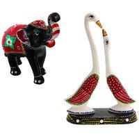 Gomati Ethnic Home Dcor Paper Mache Elephant Showpiece Handicraft Gifts With Paper Mache Pair Of Swan Showpiece Handicrafts Gift-COMB397
