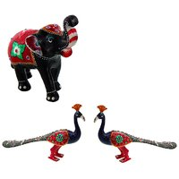Gomati Ethnic Home Dcor Paper Mache Elephant Showpiece Handicraft Gifts With Lac Work Paper Mache Peacock Pair Gift Handicraft-COMB398