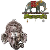 Gomati Ethnic Home Dcor Meenakari Work Elephant Procession 3 Key Stand With Hanging Gaj Mukh Showpiece-COMB223
