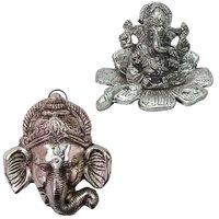 Gomati Ethnic Home Dcor Hanging Gaj Mukh Showpiece With Traditional Fool Ganesh Showpiece-COMB225