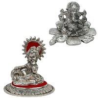 Gomati Ethnic Home Dcor Traditional Fool Ganesh Showpiece With White Metal Lord Ladoo Gopal Krishna Puja Idol-COMB226
