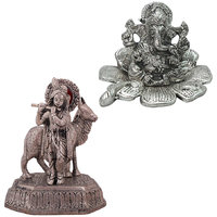 Gomati Ethnic Home Dcor Traditional Fool Ganesh Showpiece With White Metal Lord Laxmi Ganesh With Dia Thali-COMB229