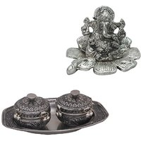 Gomati Ethnic Home Dcor Traditional Fool Ganesh Showpiece With Oxidize Mouth Freshener Box Pair N Metal Tray Set-COMB230