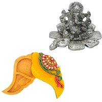 Gomati Ethnic Home Dcor Traditional Fool Ganesh Showpiece With Meenakari Shankh Shape Shubh Labh Container-COMB231