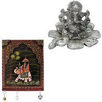 Gomati Ethnic Home Dcor Traditional Fool Ganesh Showpiece With Hand Carved Dhola Maru Painted 4 Key Wooden Stand -COMB232