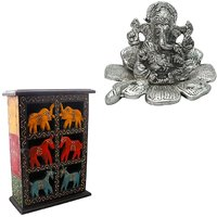 Gomati Ethnic Home Dcor Traditional Fool Ganesh Showpiece With Floral Work & Animal Design Wooden Box Wooden Key Holder-COMB233