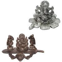 Gomati Ethnic Home Dcor Traditional Fool Ganesh Showpiece With Ridhi Sidhi Ganesha With Banana Leaf Dia-COMB234