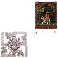 Gomati Ethnic Home Dcor Antique White Metal Swastik Ganesha Hanging  With Hand Carved Dhola Maru Painted 4 Key Wooden Stand -COMB236