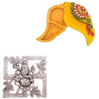 Gomati Ethnic Home Dcor Antique White Metal Swastik Ganesha Hanging  With Meenakari Shankh Shape Shubh Labh Container-COMB237