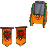 Gomati Ethnic Home Dcor Beautiful Kundan Meenakari Wooden Mobile Stand With Wooden Crafted Unique Shubh Labh Door Hangings-COMB249