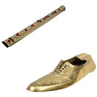 Gomati Ethnic Home Dcor Pure Brass Gemstone Studded Handcrafted Flute  With Boutique Shoe Brass Ashtray-COMB253