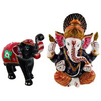Gomati Ethnic Home Dcor Paper Mache Elephant Showpiece Handicraft Gifts With Pure Brass Enamel Work Lord Ganesha Idol Handicraft-COMB400