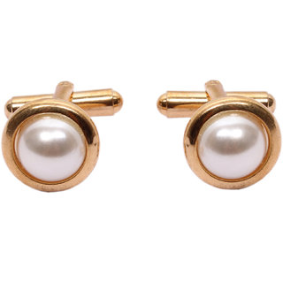 sushito Golden Attractive White Pearl Cufflink JSMFHMA0539N