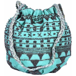 Diwaah Handcrafted Green Potli Bag