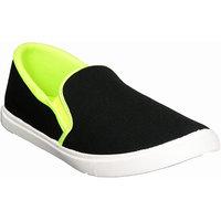 Ftr Men's Black Adn Parrot Green Slip On Casual Shoes