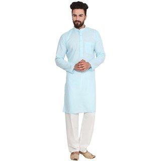 RiverZone Men Sky Blue  Comfort Fit Kurta Pyjama Sets