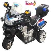 Oh Baby, Baby Battery Operated Bike Black Color With Musical Sound And Back Basket For Your Kids SE-BOB-06